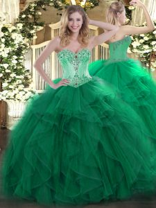 Floor Length Lace Up Quinceanera Gowns Dark Green for Sweet 16 and Quinceanera with Beading and Ruffles