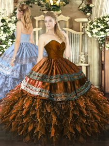 Inexpensive Brown Ball Gowns Embroidery and Ruffles Vestidos de Quinceanera Zipper Organza and Taffeta Sleeveless Floor Length