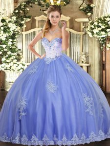 Beading and Appliques Vestidos de Quinceanera Blue Lace Up Sleeveless Floor Length