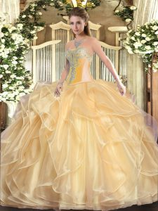 Best Sleeveless Beading and Ruffles Lace Up Quince Ball Gowns