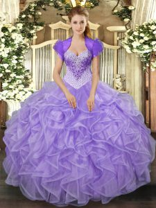Charming Lavender Organza Lace Up Sweetheart Sleeveless Floor Length Quinceanera Gowns Beading and Ruffles