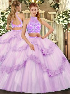 Sweetheart Sleeveless Tulle 15 Quinceanera Dress Beading and Lace and Ruffles Criss Cross