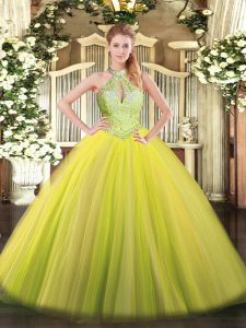 Yellow Green Lace Up Sweet 16 Dress Sequins Sleeveless Floor Length