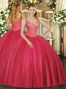 Spectacular Sleeveless Tulle Floor Length Lace Up Sweet 16 Quinceanera Dress in Red with Beading