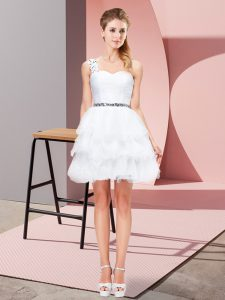 Discount One Shoulder Sleeveless Mini Length Beading and Ruffled Layers White Organza