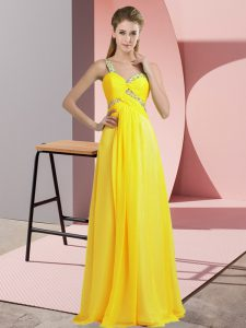 Traditional Yellow Evening Dress Prom and Party with Beading One Shoulder Sleeveless Lace Up
