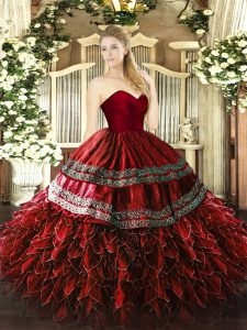 Great Floor Length Ball Gowns Sleeveless Wine Red Quince Ball Gowns Zipper