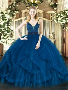 Royal Blue Ball Gowns Tulle Straps Sleeveless Beading and Ruffles Floor Length Zipper Ball Gown Prom Dress