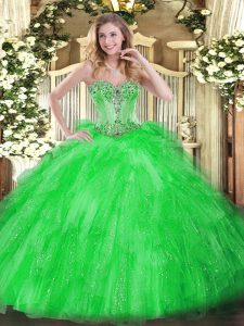 Green Sweetheart Lace Up Beading and Ruffles 15th Birthday Dress Sleeveless