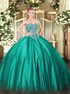 Custom Designed Floor Length Lace Up Quinceanera Gown Turquoise for Military Ball and Sweet 16 and Quinceanera with Beading