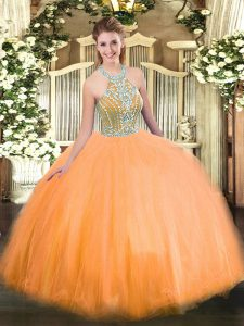 Amazing Halter Top Sleeveless Quince Ball Gowns Floor Length Beading Orange Tulle