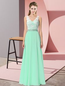 Apple Green Sleeveless Chiffon Lace Up Prom Dress for Prom and Party