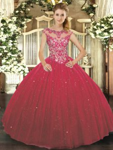 Custom Design Beading and Appliques Quinceanera Dress Wine Red Lace Up Cap Sleeves Floor Length