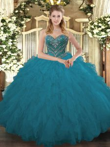 New Style Sleeveless Beading and Ruffled Layers Lace Up Quince Ball Gowns