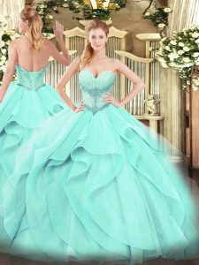 Elegant Aqua Blue Quinceanera Dress Military Ball and Sweet 16 and Quinceanera with Beading and Ruffles Sweetheart Sleeveless Lace Up