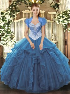 Blue Sweetheart Neckline Beading 15 Quinceanera Dress Sleeveless Lace Up