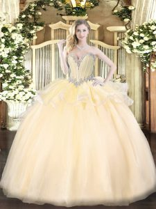 Sweetheart Sleeveless Organza Ball Gown Prom Dress Beading Lace Up