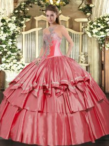Custom Design Coral Red Sweetheart Lace Up Beading and Ruffled Layers Quinceanera Dress Sleeveless