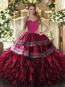 Embroidery and Ruffles Sweet 16 Dresses Wine Red Lace Up Sleeveless Floor Length