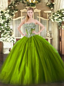 Trendy Sleeveless Tulle Floor Length Lace Up Ball Gown Prom Dress in Olive Green with Beading