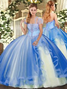 Blue Ball Gowns Appliques and Ruffles Quinceanera Dresses Lace Up Tulle Sleeveless Floor Length