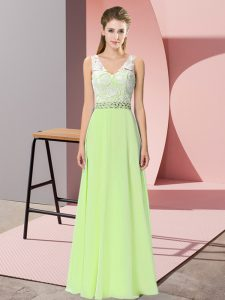 Chiffon Sleeveless Floor Length Prom Dresses and Beading
