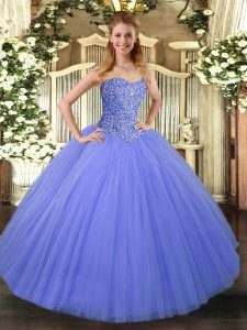 Floor Length Ball Gowns Sleeveless Blue 15th Birthday Dress Lace Up