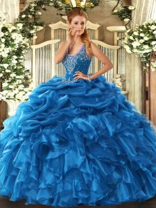 Beautiful Floor Length Blue Quince Ball Gowns Straps Sleeveless Lace Up