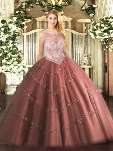 Sleeveless Tulle Floor Length Zipper Sweet 16 Quinceanera Dress in Brown with Beading and Appliques