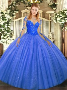 Sumptuous Floor Length Ball Gowns Long Sleeves Blue Quinceanera Gown Lace Up