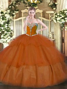 Sleeveless Beading and Ruffled Layers Lace Up Vestidos de Quinceanera