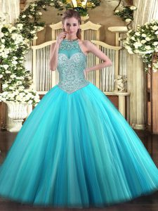 Aqua Blue Ball Gowns Beading Quinceanera Gowns Lace Up Tulle Sleeveless Floor Length
