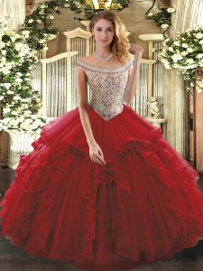 Wine Red Lace Up Quince Ball Gowns Beading and Ruffles Sleeveless Floor Length