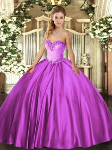 Fuchsia Lace Up Sweet 16 Quinceanera Dress Beading Sleeveless Floor Length