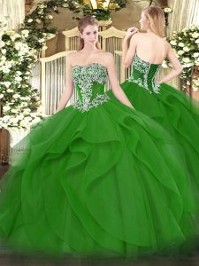Designer Floor Length Green Sweet 16 Dresses Tulle Sleeveless Beading and Ruffles