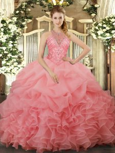 Watermelon Red Sleeveless Organza Lace Up Quinceanera Dress for Military Ball and Sweet 16 and Quinceanera