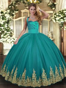 Sleeveless Lace Up Floor Length Appliques 15 Quinceanera Dress