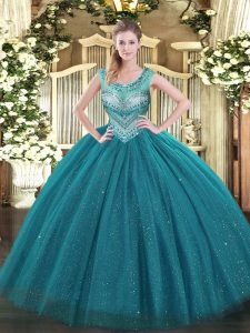 Fantastic Sleeveless Lace Up Floor Length Beading Sweet 16 Dress