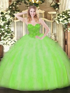 Best Quinceanera Dress Military Ball and Sweet 16 and Quinceanera with Beading and Ruffles V-neck Sleeveless Lace Up