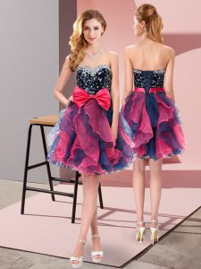 Dazzling Mini Length Multi-color Homecoming Dress Organza Sleeveless Beading and Ruffles and Bowknot