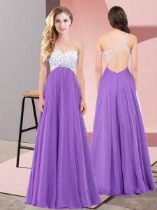 Decent Eggplant Purple Empire Chiffon One Shoulder Sleeveless Beading Floor Length Lace Up Prom Gown