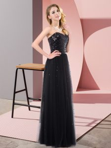 Black Lace Up Sweetheart Sequins Tulle Sleeveless