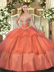 Orange Red Ball Gowns Beading and Ruffled Layers Quinceanera Gowns Lace Up Tulle Sleeveless Floor Length