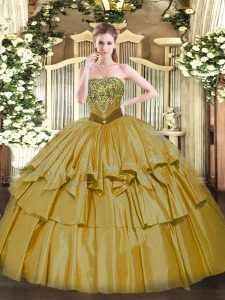 Cute Strapless Sleeveless Organza and Taffeta Quinceanera Dress Beading and Ruffled Layers Lace Up