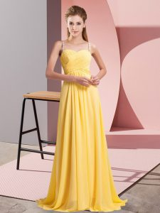 Superior Floor Length Gold Homecoming Dress Chiffon Sleeveless Ruching
