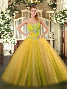 Tulle Sleeveless Floor Length Quinceanera Dress and Beading