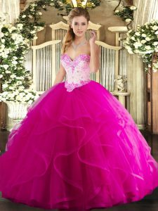 Dazzling Floor Length Ball Gowns Sleeveless Fuchsia Ball Gown Prom Dress Lace Up