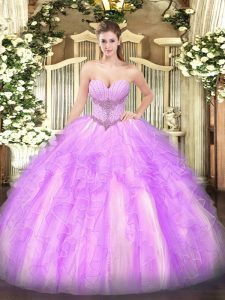 High Quality Lilac Quinceanera Gowns Military Ball and Sweet 16 and Quinceanera with Beading and Ruffles Sweetheart Sleeveless Lace Up