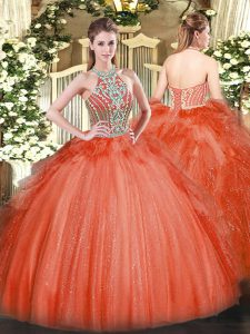 Simple Floor Length Ball Gowns Sleeveless Red Quinceanera Dresses Lace Up
