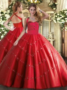 New Style Floor Length Ball Gowns Sleeveless Red Sweet 16 Quinceanera Dress Lace Up